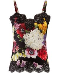 Dolce & Gabbana - Floral Print Satin Camisole - Lyst