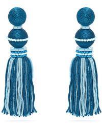 Oscar de la Renta Bead Embellished Tassel Drop Clip Earrings - Blue