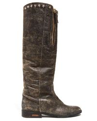 Golden Goose Deluxe Brand - Charlye Distressed-leather Knee-high Boots - Lyst