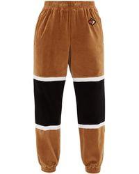 Burberry Colour-block Cotton-blend Velour Track Pants - Natural