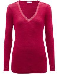 Hanro Lace-trimmed Merino Wool-blend Pyjama Top - Red