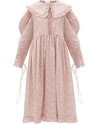 Horror Vacui Lisi Ruffled-collar Floral-print Cotton Dress - Pink