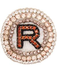 Rochas R Logo Crystal Embellished Brooch - Pink