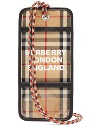 Burberry Checked Logo-print Cardholder Necklace - Natural