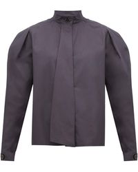 Lemaire Box-pleat Drape-tie Cotton Blouse - Gray