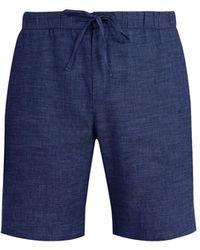 Frescobol Carioca Drawstring-waist Slim-leg Linen-blend Shorts - Blue