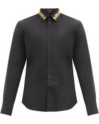 Versace Chemise en coton mélangé à col baroque - Noir