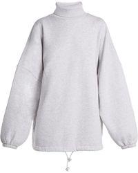 Balenciaga - Oversized Roll Neck Cotton Sweatshirt - Lyst