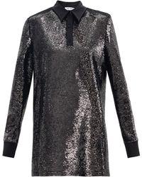 The Attico Robe-chemise courte à sequins - Noir