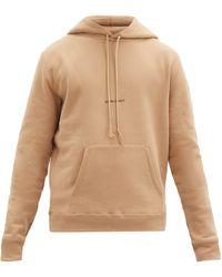 Saint Laurent Logo-print Cotton-jersey Sweatshirt - Natural