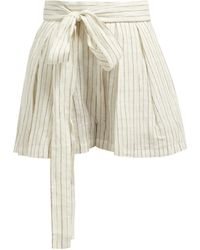 Three Graces London Jola Shimmer Stripe Shorts - Natural