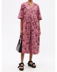 Ganni フローラル オーガニックコットンポプリンラップドレス - ピンク