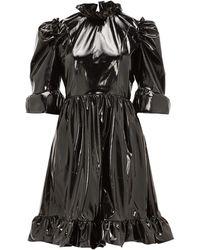 BATSHEVA Spring Ruffled Pvc Mini Dress - Black