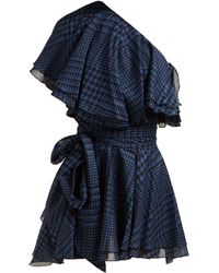 Alexandre Vauthier - Houndstooth One Shoulder Cotton Mini Dress - Lyst