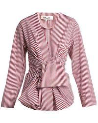 Diane von Furstenberg - Striped Waist-tie Cotton Blouse - Lyst