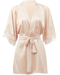 Fleur Of England Signature Lace-trimmed Silk-blend Satin Robe - Pink