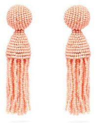 Oscar de la Renta - Bead-embellished Tassel-drop Earrings - Lyst