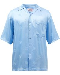 Martine Rose Cuban-collar Logo-jacquard Satin Shirt - Blue