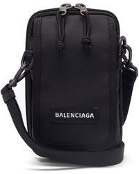 Balenciaga ロゴ キャンバスクロスボディバッグ - ブラック