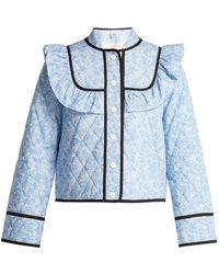 Ganni - Sage Floral-print Quilted Jacket - Lyst