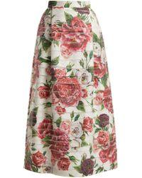 Dolce & Gabbana - Peony And Rose-print High-rise Midi Skirt - Lyst