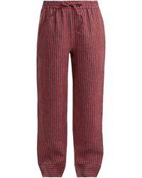 Acne Studios Maseline Sketch Striped Linen-blend Trousers - Red