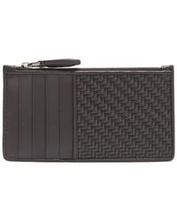 Ermenegildo Zegna - Woven And Smooth-leather Cardholder - Lyst