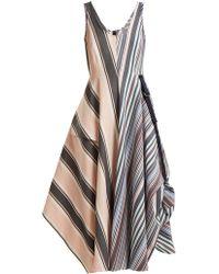 Sportmax - Striped Mid-length A-line Dress - Lyst