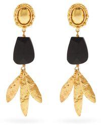 Sylvia Toledano Ebony-pendant Drop Clip Earrings - Metallic