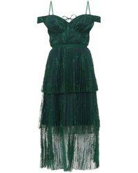 Self-Portrait Pleated Lace Midi Dress - Green