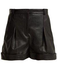 Stella McCartney - Pleated Faux-leather Shorts - Lyst