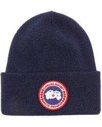 Canada Goose ロゴパッチ メリノウールビーニー - ブルー