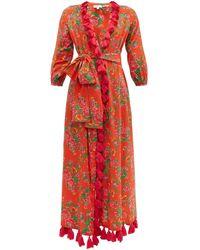 RHODE - Lena Floral-print Tassel-trim Cotton Wrap Dress - Lyst