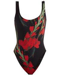 Norma Kamali - - Mio Roses Print Swimsuit - Womens - Black Print - Lyst