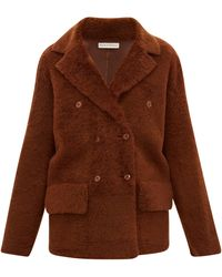 Inès & Maréchal Frou Frou Double-breasted Shearling Peacoat - Brown