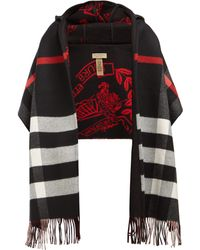 Burberry - Hooded Check Fringe Scarf - Lyst