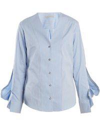 Palmer//Harding - V-neck Striped Cotton Shirt - Lyst