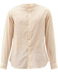 Péro Collarless Striped Cotton Shirt - Orange