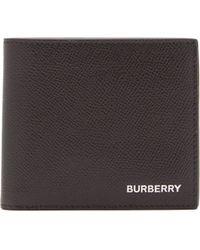 Burberry Portefeuille à rabat multidevise en cuir grainé - Noir
