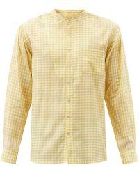 Péro Collarless Check Cotton Shirt - Yellow