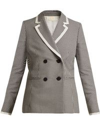 Sara Battaglia - Hound's-tooth Double-breasted Jacket - Lyst