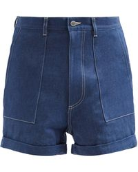 E. Tautz Patch-pocket Denim Shorts - Blue