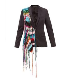 Germanier Recycled Sequin-strand Twill Blazer - Black