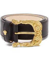 Versace Medusa-buckle Leather Belt - Black
