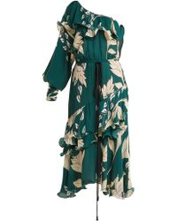 Johanna Ortiz - Jade One-shoulder Floral-print Dress - Lyst