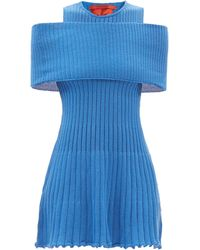 Thebe Magugu Stole Cold-shoulder Ribbed-wool Mini Dress - Blue