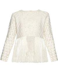 Adam Lippes - Fringed Crochet-panel Sweater - Lyst
