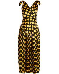 Duro Olowu Large Polka-dot Print Silk-satin Gown - Yellow