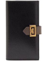 Givenchy Gv3 Logo-buckle Leather Bi-fold Wallet - Black