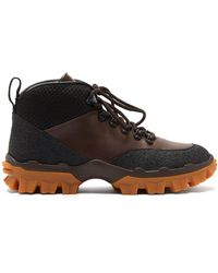 Moncler Hektor Lace Up Leather Boots - Brown